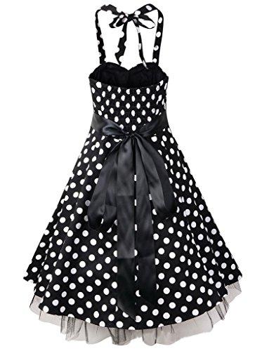 Eyekepper Robe Femme demoiselle les pois rockabilly robe vintage des annees 1950 noir-1