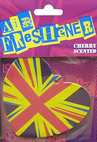 Retro Heart Union Jack Air Freshener - Delicious Cherry Scented