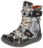 TMA Damen Winter Stiefeletten Boots Gefüttert Schuhe 7087 (38, Schwarz-Grau)
