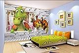 Yosot Benutzerdefinierte Tapete Kinderzimmer Kulisse Wall 3D Dinosaurier Stereo Dinosaurier Cartoon Baby Zimmer Hintergrund 3D Tapete Wandbild-200Cmx140Cm
