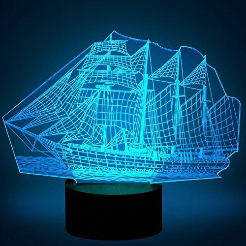 3D Segeln Lampe USB Power 7 Farben Amazing Optical Illusion 3D wachsen LED Lampe Formen Kinder Schlafzimmer Nacht Licht