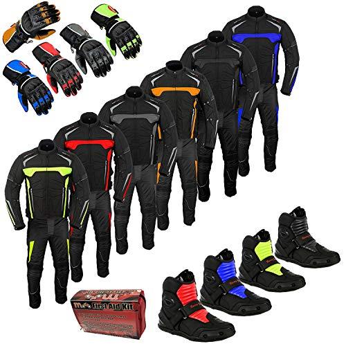 Profirst Global Tuta da moto impermeabile per equitazione, touring, abbigliamento con caviglia corta, scarpe da moto, stivali con guanti, tuta da uomo