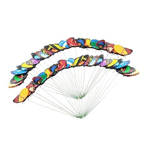 Baoblaze Lot de 50x Piquets de Jardin Stakes Décoration De Libellule - Papillon 7cm
