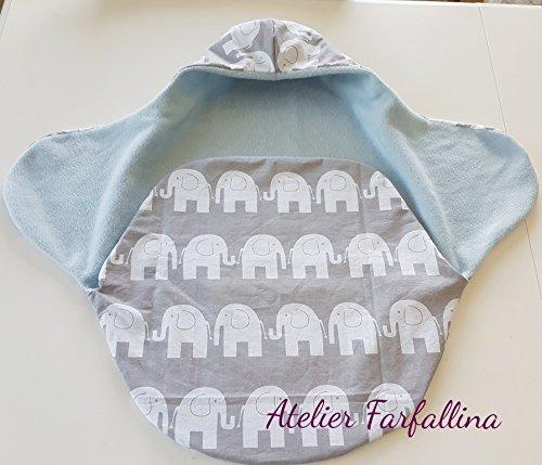 Einschlagdecke für Babyschale/Puckdecke FußsackElefanten grau weiß hellblau