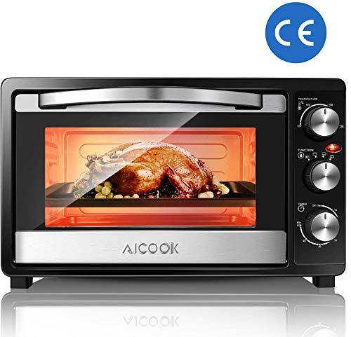 AICOOK Minibackofen mit 1500 Watt | Unter-Oberhitze bis 230 Grad stufenlose Temperaturregelung | 60 Minuten Timer | Doppelglastür | 23L Mini Ofen