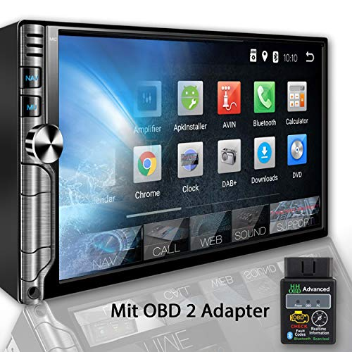 Tristan Auron BT2D7019A Autoradio + OBD 2 Adapter, Android 8.1, 7\'\' Touchscreen Bildschirm, GPS Navi, Bluetooth Freisprecheinrichtung, Quad Core, MirrorLink, USB/SD, OBD 2, DAB+, 2 DIN