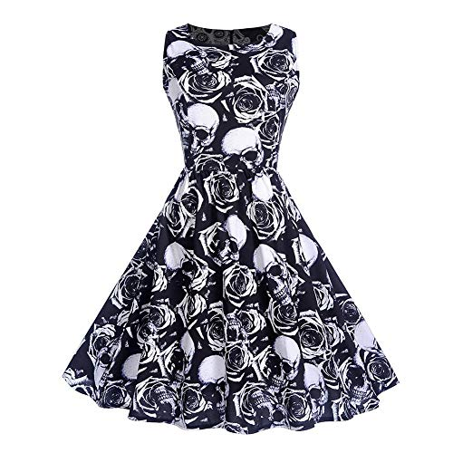 Chen0-super Halloween Calabaza Estampado Calavera Rockabilly...