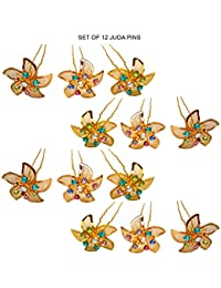 Juda Pins For Brides/Hair Juda For Women Party Wear Golden-Color Set Of 12 pcs
