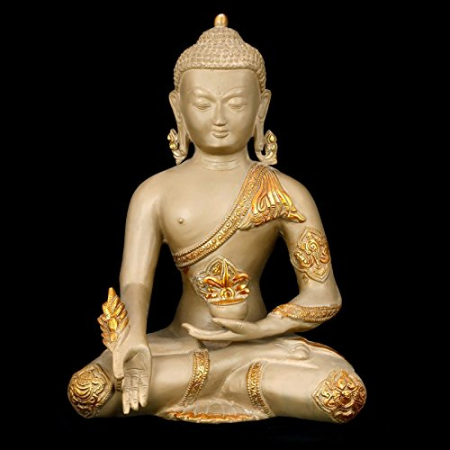 craftvatika Rare 30,5cm Medizin Buddha Statue groß–Messing Metall Antik Staub & Golden Skulptur–Tibetische Buddha (Antike Tibetische Möbel)