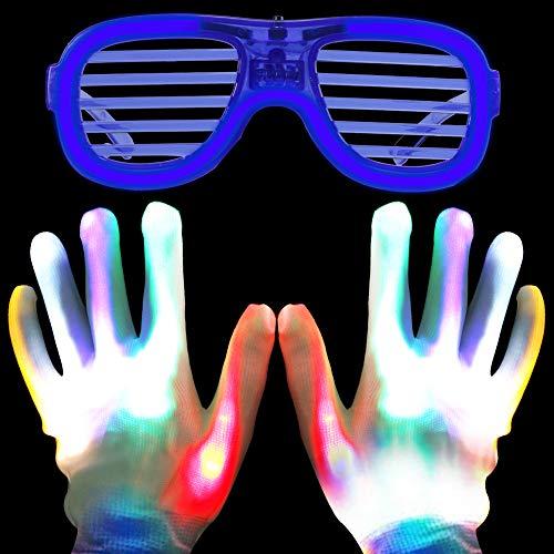 Goldge LED Bunte Handschuhe Rave Gloves mit Leuchtbrille Party-LED-Gläser Draht Neon Wire Leuchtbrille für Karneval Konzert Halloween Masquerade Party