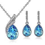 GoSparking Aquamarine blu cristallo 18K oro bianco placcato della lega del pendente e orecchini set con il cristallo austriaco per le donne immagine