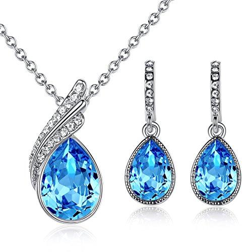 GoSparking Aquamarine blu cristallo 18K oro bianco placcato della lega del pendente e orecchini set con il cristallo austriaco per le donne