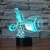 3D Nachtlicht Langhantel Bodybuilding Lampe Nachtlicht Touch optische Schreibtisch Illusion Lampen 7 Farben ändern Lichter Home Decoration Remote Touch-Schalter