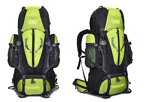 85L escursionismo zaino in nylon Campeggio alpinismo zaino borsa super leggero 1.95 kg con girovita borsa cinghie sterno e sistema di trasporto rimovibile H68 x L40 x T18 cm , black Green