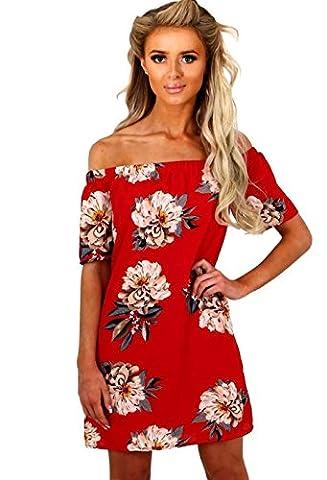 DAYLIN Women Summer Short Sleeve Off Shoulder Floral Print Casual