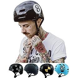 SkullCap Skateboard & BMX Casque de vélo pour Enfants et Adultes, Design: Black-8, Taille: M