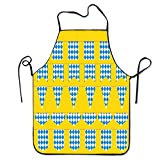 tgyew 2019 Apron Unisex Waterproof Aprons Bavarian Flag Pattern Kitchen Apron for Cooking Gardening