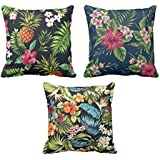 YaYa cafe Printed Garden Floral Flower Throw Cushions Pillow Covers 12x12 inches for Home Decor Sofa Chair Bedroom Living Room - Set of 3