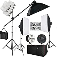 BPS 2850W Softbox douille 5 en 1 éclairage continu kit 15x38W lampe 5500K pour studio photo vidéo, chaque ampoule dispose d'un interrupteur indépendant avec 3 boîte à lumière, une potence et sac de transport