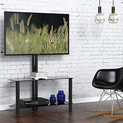 Fitueyes TV-Bodenständer mit Halterung und Ablagen für 32 bis 50 Zoll LCD LED schwenkbar höhenverstellbar schwarz TW209001MBUK (Tv-ständer-combo)