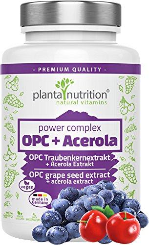 OPC Traubenkernextrakt Kapseln hochdosiert, vegan, Premium Formel: 1022mg reines OPC + 68mg natürliches Vitamin C aus Acerola pro Tag, 120 Kapseln