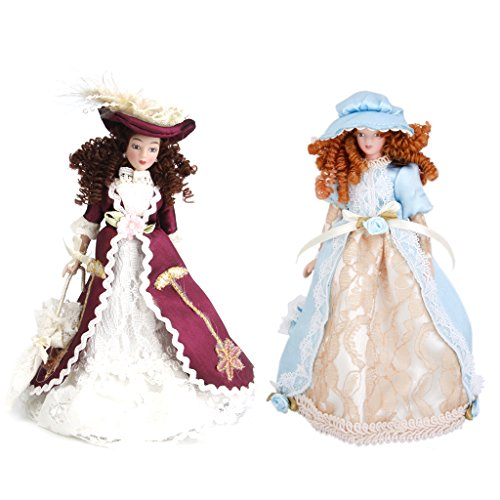 Gazechimp 2pcs1/12 Casa de Muñecas en Miniatura Porcelana Dama Victoriana en Vestido y Sombrero