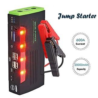 Arrancador de Coche 20000mAh 600A Jump Starter, Arrancador Baterias Coche (hasta 6.0L en Gas o 4.0L en Diesel) con Pinzas Inteligentes, Puertos de Carga 4 USB, Linterna LED