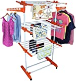 #3: Favour Made In India Life Time Use 3 Tier Mild Stainless Steel Floor Cloth Dryer Stand Racks Hanger (Orange)