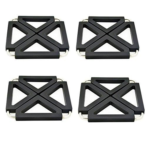 Tappetino in silicone, GETALL regolabile dimensioni Silicone e metallo Pot Cuscinetti, cuscinetti caldi per tabella Placemats.5.2*5.2*0.5 Inches.set di 4 (Nero)