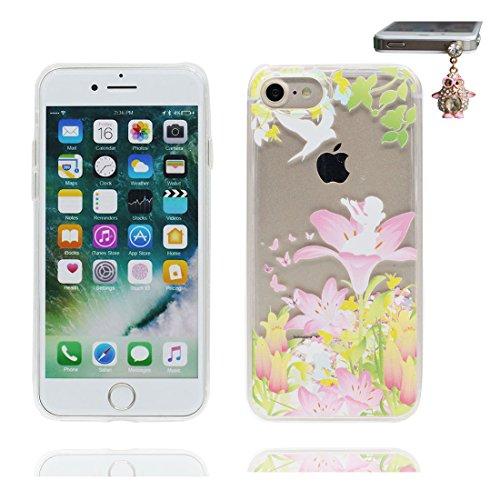 """iPhone 7 Plus Coque, Skin Hard Clear étui iPhone 7 Plus, Design Glitter Bling Sparkles Shinny Flowing (Lis Lily) iPhone 7 Plus Case Cover 5.5"""", résistant aux chocs et Bouchon anti-poussière # 7"""