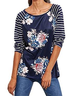 Blusa Mujer,Longra ❤️ Camiseta de manga larga - relaxed - Clásico - Estampadas Flores - para mujer