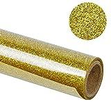 LaRibbons 505 x 305 mm Glitter Wärmeübertragung Vinyl Rolle für T-shirt, DIY Handwerk ( 02-Gold )