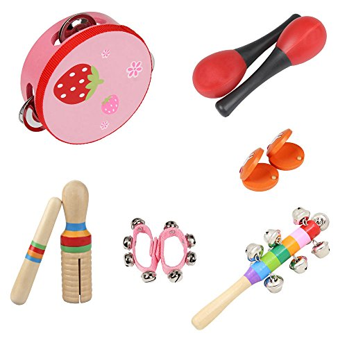 ammoon 9 teile / satz Musical Spielzeug Percussion Instrumente Band Rhythmus Kit Einschließlich Tambourine Maracas Kastagnetten Handbells Holz Guiro für Kinder Kinder Rosa