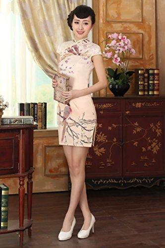 Bigood Robe Eté Femme Soie Imité Cheongsam Rétro Style Manche Courte Abricot