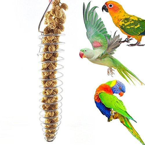 Tragbarer Edelstahl-Spiral-Futterspender für Papageien, Haustier, Obsthalter, Spielzeug für Papageien, Wellensittiche, Nymphensittiche, afrikanische Graue, Kakadu