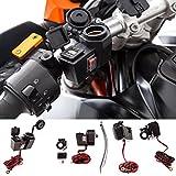 UltimateAddons Motorrad-Lenkerhalterung zur Stromversorgung mit 5V 2Amp, 2 x USB-Anschluss und Anschluss für Zigarettenanzünder