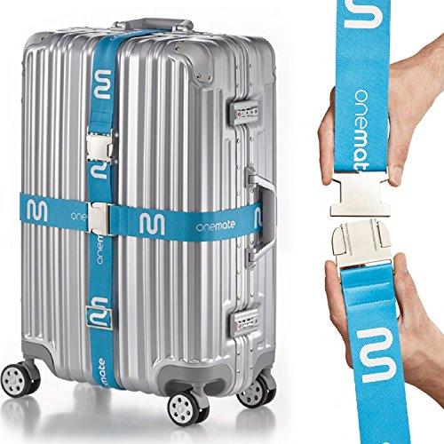 OneMate Koffergurt-Set mit Metallschnalle (2) – Robuster Gepäckgurt für sichere Reisen | Gratis Samtbeutel & Garantie