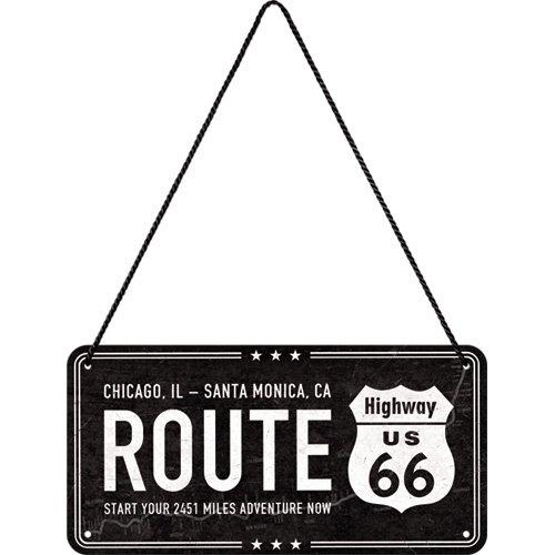 Nostalgic-Art 28025 Highway 66 Black  | Retro Hängeschild | Vintage-Schild | Wand-Dekoration | Tür-Schild |Metall | 10x20 cm (Metall-schilder Der Route 66)