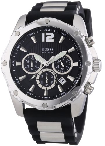 Mens Guess Watch Black Tone Chronograph Sports Collection W0167G1