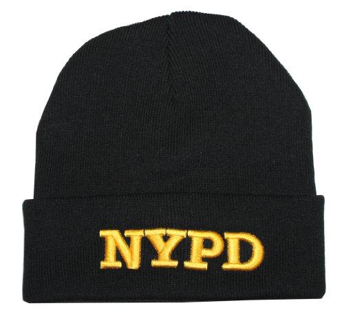 New York Cops-NYPD Winter Hat Police Badge New York Polizei schwarz & Gold one Size