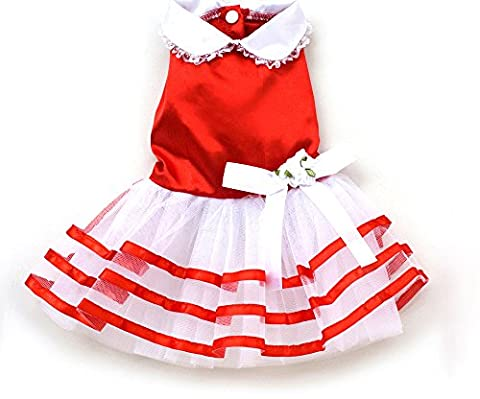 SMALLLEE_LUCKY_STORE Pet Small Dog TuTu Dress Satin Shirts Pleated Princess Skirts Cat Puppy Clothes Girls Wedding Party Red S