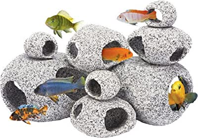 Aquarium Ornament Natural Granite Stone Fish Hideaway