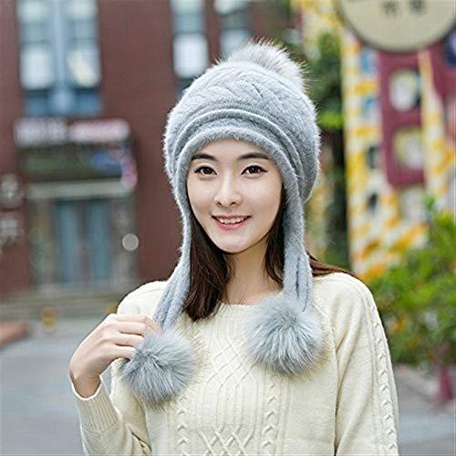 FENGLINZEKANG Frauen Winter Beanie Hut Ski Ear Flaps Cap Dual Layered Pompons (Color : Grey, Größe : M (56-58cm)) Beanie Winter Ski Hut