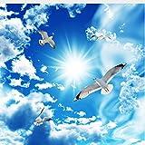 Mznm mznmcustom groß Deckenleuchte Zenith Wandbild Tapete 3D Stereo Blau Himmel weiß Wolken Taube Natur Landschaft Foto Wandbild-deckentapeten 280x200cm