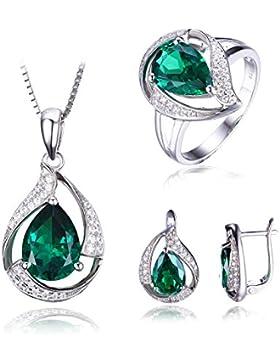Jewelrypalace Schmuck Set Damen Geschenk Grün Luxus Simulierte Nano Russisch Smaragd Anhänger Halskette 45cm Box...