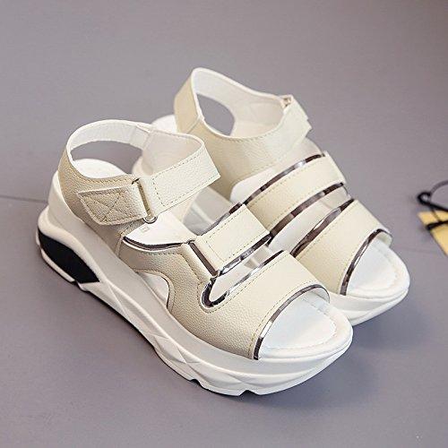 Lgk & fa sandali da donna estate di spessore inferiore sport sandali scarpe da fondo piatto per il tempo libero Beige