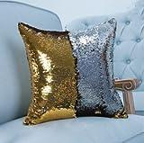 Bluelover Reversible Pailletten Meerjungfrau Kissenbezug Magische Farbwechsel Kissen Kissenbezug Home Car Decor - Gold + Silber