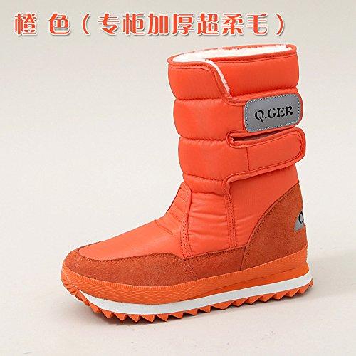 SQIAO-X- Inverno di spessore fondo piatto resistente all'acqua anti-slip caldo, scarponi da neve e neve stivali scarpe di cotone Arancione spessa