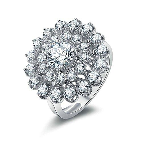 Knbob anello argento 925 fascia anello a forma di fiore con zirconi bianchi brillanti rotondi anello oro zirconi anelli uomo fidanzamento dimensione