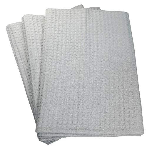 Mischke-24 3 x Geschirrtücher Küchentücher Putztücher Poliertücher 100% Baumwolle Waffelpiqué Silber grau - Lila Waffel